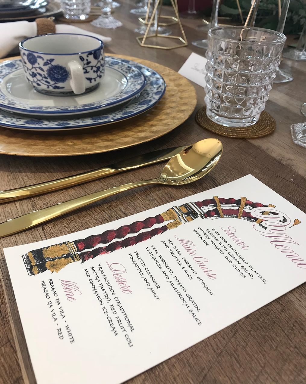 menu escrito e decorado manualmente